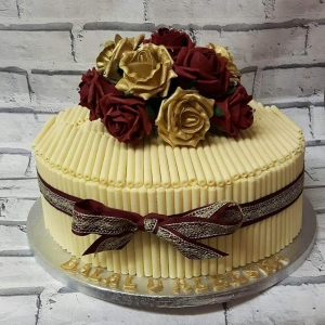 Deep Red & Gold Chocolate Engagement Cake