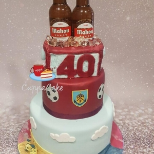 Holidays Burnley FC and Beer Themed Cake