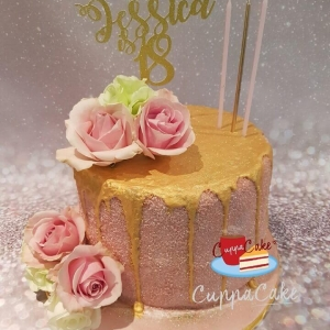 Pink Roses and Gold Sparkle Cake