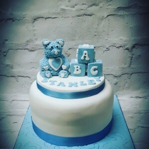 Teddy and Blocks Christening Cake
