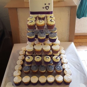 Wedding Cake and Cupcake Tower