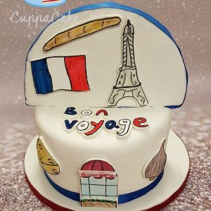Bon voyage French themed cake